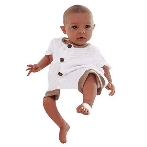 Kobay- Jungen Sommer Infant Baby Jungen Mädchen Kurzarm Solide Strampler Bodysuit Kleidung Baby Einfarbig Pit Streifen Siamese Harmony Pack Furz Kleidung (3-18M) (80,3-6 Monate, Weiß)