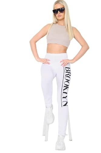 ShapeUp Damen Sommer Brooklyn Print Gym Yoga Jogginghose Hose Gr. M, weiß