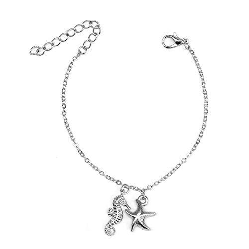 yqs Pulsera creativa colgante pulsera encantadora mujer cadena de mano moda playa fiesta accesorios plata