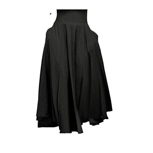 VEZAD High Waist Pleated A Line Long Skirt Women Front Slit Belted Maxi Skirt Black