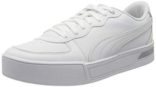 PUMA Damen Skye Metallic Sneaker, White White Silver, 40 EU