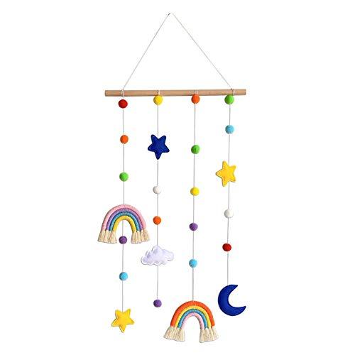 Sweet&rro17 Colgante de pared de estilo nórdico con diseño de estrella luna, para fotos, accesorios de almacenamiento y adornos de habitación de niños (Rainbow-01)