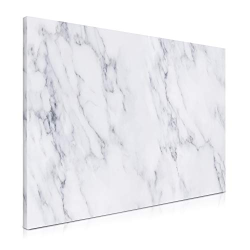 Navaris Magnetic Dry Erase Board - 16 x 24 inches Decorative White Board for Wall with Design, Includes 5 Magnets and Marker - White Marble