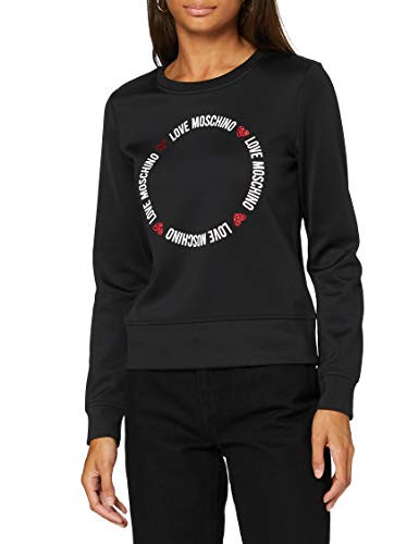 Love Moschino Sweatshirt Sudadera, Black, 46 para Mujer