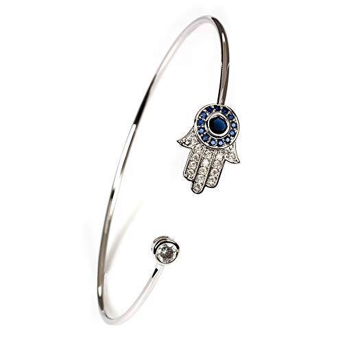 CHIY-GBC Lucky Eye Hamsa Pulsera de esclavón de Mano Titanio Acero Azul Mal Ojo esclava Ajustable joyería de Lujo para Las Mujeres Chica