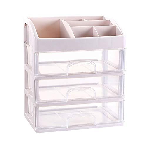 MSYOU - Joyero transparente de 3 capas con compartimentos, multifunción, caja de almacenamiento de joyas, caja de almacenamiento de cosméticos, caja de regalo para mujeres y niñas