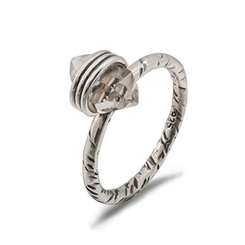 Energy Stone Herkimer Anillo apilable de plata de ley con diamante (estilo # JPU02),