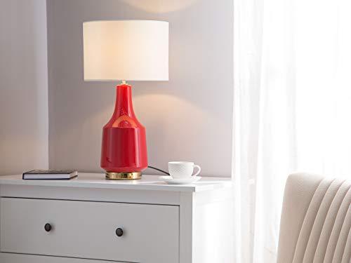 Beliani Moderne Tischlampe effektive Farbe Keramik/Poly-Baumwolle rot/cremeweiß Triversa