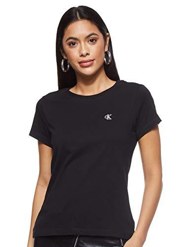 Calvin Klein Jeans Damen Ck Embroidery Slim Tee Hemd, Black, S