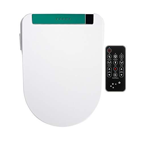 Asiento de inodoro inteligente, 3 colores, luz alargada, control remoto eléctrico, SPA automático, calefacción inteligente, inodoro, bidé, cubierta (38 cm x 51 cm),Verde