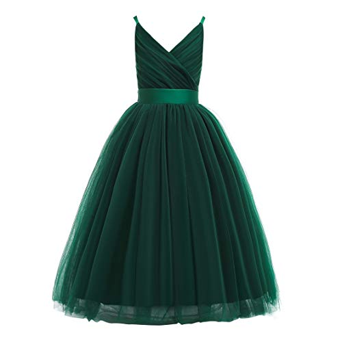 Glamulice Girls Lace Bridesmaid Dress Long A Line Wedding Pageant Dresses Tulle Spaghetti Strap Party Gown (13-14Y, V-Emerald Green)