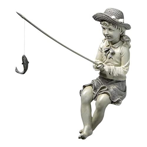 3D Junge Mädchen Angeln Garten Statue Skulptur Figur Landschaft Home Outdoor Rasen Yard Harz Ornamente Dekoration Für Terrasse, Balkon,Girl