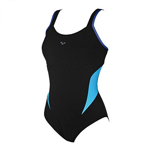 ARENA Makimurax One Piece Badeanzug Low C Cup Damen Black-Bright Blue-Turquoise Größe DE 48 | US 44 2021 Schwimmanzug