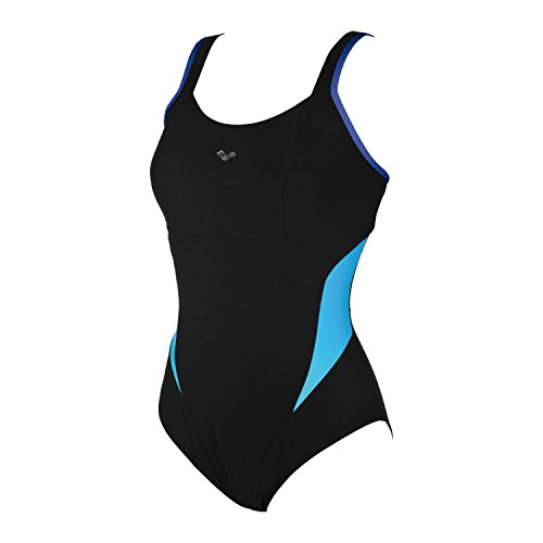 ARENA Makimurax One Piece Badeanzug Low C Cup Damen Black-Bright Blue-Turquoise Größe DE 48 | US 44 2020 Schwimmanzug