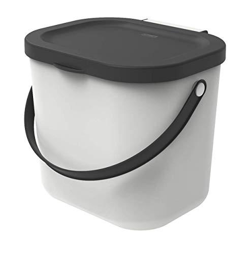 Rotho Albula Biomülleimer 6l mit Deckel und Henkel für die Küche, Kunststoff (PP) BPA-frei, weiss/anthrazit, 6l (23,5 x 20,0 x 20,8 cm)