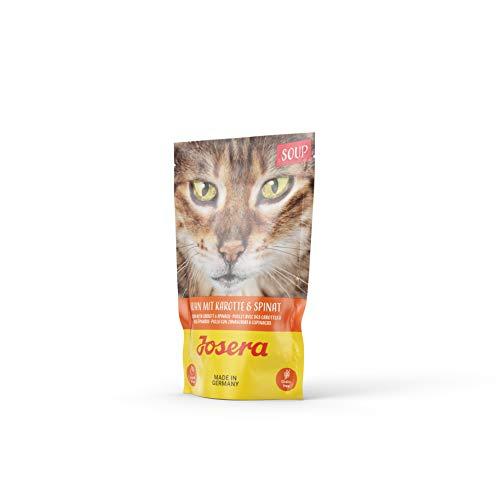 JOSERA Soup Huhn mit Karotte & Spinat, getreidefreies Katzenfutter, extra Flüssigkeit für trinkfaule Katzen, Super Premium Nassfutter für ausgewachsene Katzen, 16er Pack (16 x 70 g)