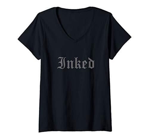 Damen Inked tattooed tattoo T-Shirt mit V-Ausschnitt