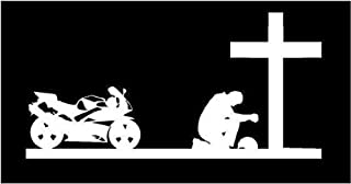White Vinyl Decal Sport Biker Praying Cross Christian Bike Motorcycle Sticker, 5 INCH Dye Cut Decal Sticker for Bumpers Windows Cars Laptops ETC