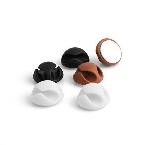 System-S - Juego de 6 cables organizadores para escritorio, color blanco, marrón...