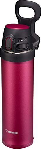 Zojirushi SM-QHE60RK, Flip-and-Go Stainless Mug, 20-Ounce, Hibiscus Red