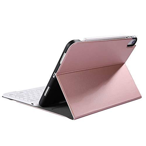 iPad Air4 10.9 2020 Bluetooth キーボード ワイヤレスキーボード 超薄TPUケース ペンシル収納付き ブルートゥース Bluetooth キーボード スタンド カバー 対応型番 A2324, A2072 (ローズゴールド)