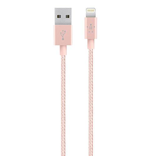 Belkin MIXIT - Cable metálico de Lightning a USB con certificación MFi para iPhone 11, 11 Pro, 11 Pro Max, XS, XS Max, XR, X, 8/8 plus y otros (1,2 metros), oro rosa