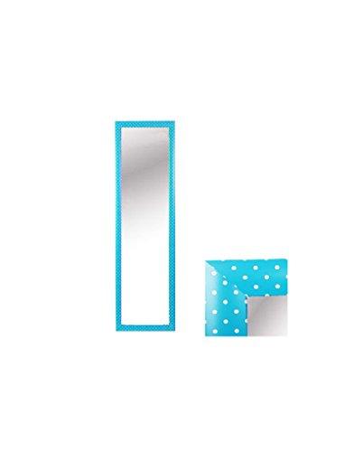 Espejo para Puerta Moderno, Color Azul con Lunares Blancos, para Dormitorio, sin Agujeros (34,7cm X 1,5cm X 125cm) - Hogar y Mas