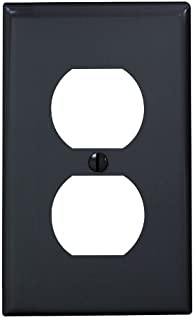Leviton 80703-E 1-Duplex Receptacle Standard Size Wall Plate, 1 Gang, 4-1/2 In L X 2-3/4 In W 0.215 In T, 1-Pack, Black