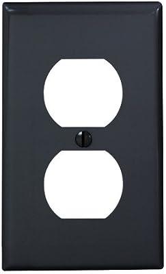 Leviton 80703-E 1-Gang Duplex Device Receptacle Wallplate, Standard Size, Thermoplastic Nylon, Device Mount, Black