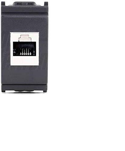 Frutto rj45 UTP cat.6A compatibile vimar idea presa modulare 8 poli per cavi ethernet connessione a crimpare senza attrezzi, colore nero