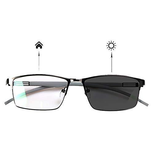 HQMGLASSES Intelligente Zoom-Multifokus-Lesebrille, Männer Licht im Freien Farbwechsel UV-Schutz Sonnenbrille HD-Objektiv Anti-Blaulicht Ultraleicht TR90 Brille Beine Lupe +1.0 bis +3.0,Grau,+1.0