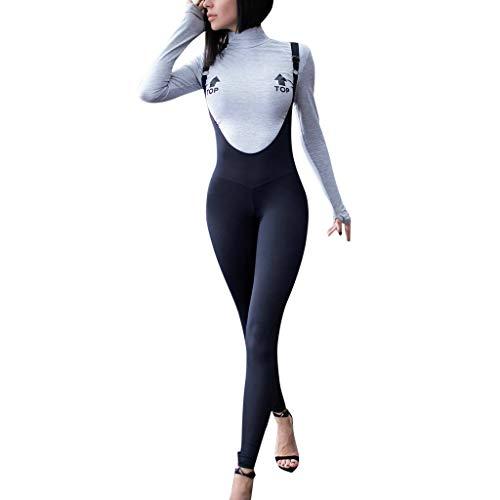 Latzhose Damen Lang Eng Elegant Sommer Jumpsuit Frauen Träger Casual Playsuit Schwarz