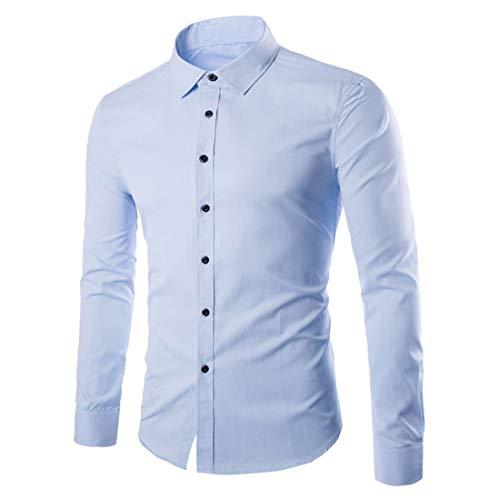 Camicia Uomo Top Uomo Business Casual Risvolto Comodo Casual Slim Moda Occasioni Formali Camicie Uomo Autunno Nuovo Colore Puro Bottoni Semplici Festa di Nozze Camicia Uomo Light Blue L