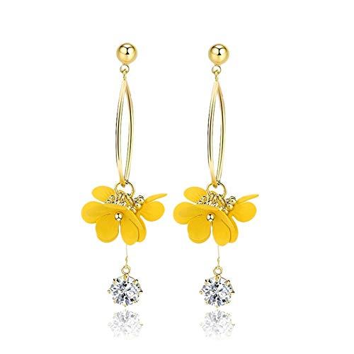 BIAOYU Pendientes de lágrima de flores amarillas, pendientes colgantes de moda, pendientes de declaración de Navidad, regalos para mujeres, niñas y mamá