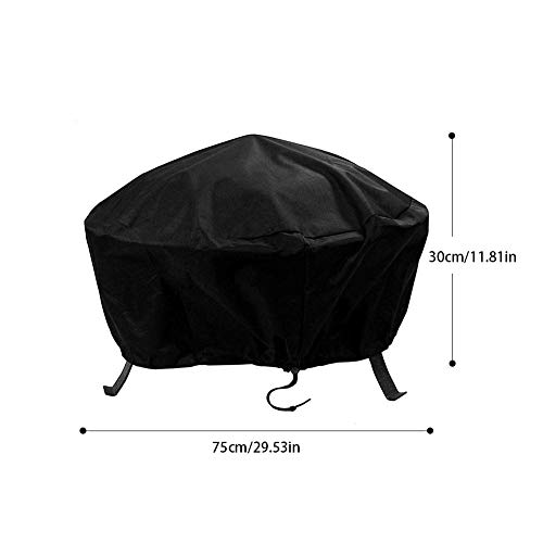 likeitwell Round Fire Pit Cover Waterproof Protective Weather Resistant Cover Garden Patio Outdoor Fire Bowl Cover with Drawstring, Black advantageous high Grade