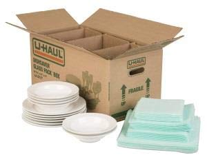 U-Haul Dish Packing Kit – for Dishes and Glassware – Includes 1 Box, 1 Cell Divider Unit, and 32 Assorted Foam Pouches (Value Pack of 3)