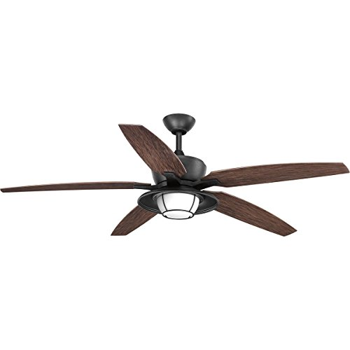Progress Lighting P2564-8030K Protruding Mount, 5 Toasted Oak Blades Ceiling fan with 18 watts light, Forged Black