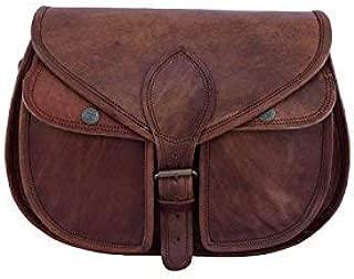 12 Inch Vintage Leather Women Satchel Messenger Shoulder Bag Ladies Purse Handbag Crossbody Bag