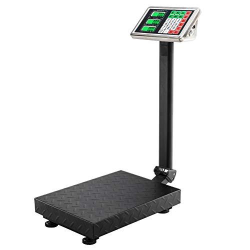 Hot Wing LCD Digital Floor Platform Scale 100KG/220lbs Folding Platform Postal Parcel Scales with 30*40 Platform & 0.6mm Plate Black UK Plug