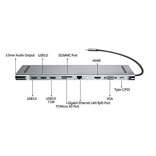 ZIHENGUO USB-C-Hub, C-Adapter 10-in-1-Aluminium-Dockingstation mit Gigabit-Ethernet für MacBook und Huawei/Samsung usw. Computer und Mobile Geräte