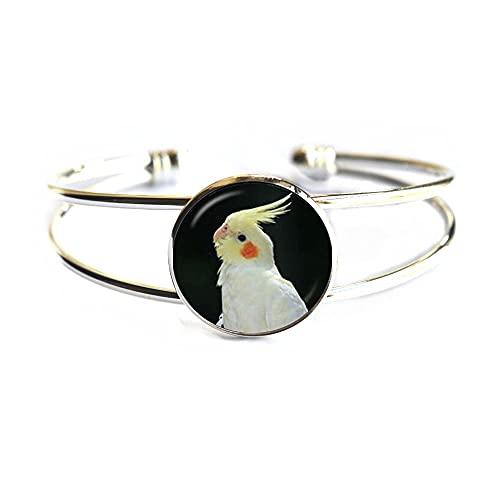 P274 Armreif mit Glaskuppel, Papageien-Armreif, Vogel-Armband, niedliches Tier-Glasbild, Armband