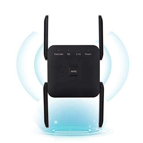 1200Mbps WiFi Booster Range Extender, Dual Band 2.4 & 5GHz WPS Wireless Signal Repeater 4 High-Gain Antennas 360° Full Coverage, Extend WiFi Signal to Alex Devices (Black)