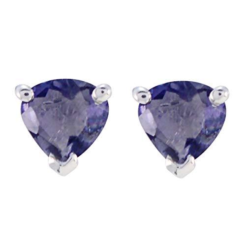 joyas plata atractivo iolita una piedra preciosa en forma de corazón tachuelas talladas aretes de plata esterlina