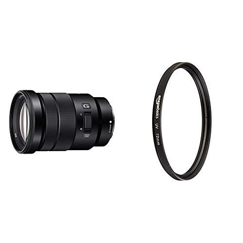 Sony SEL-P18105G G OSS - Objetivo para Sony/Minolta (Distancia Focal 18-105mm, Apertura f/4) Color Negro + Amazon Basics - Filtro de protección UV - 72mm