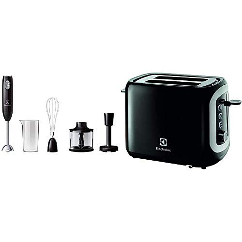Electrolux Love Your Day Collection Licuadora de Inmersión, W, 600 mililitros, Plástico, 2 velocidades, Negro & Love Your Day Collection Tostadora, 870 W, Plástico, 2 Compartimentos, Negro