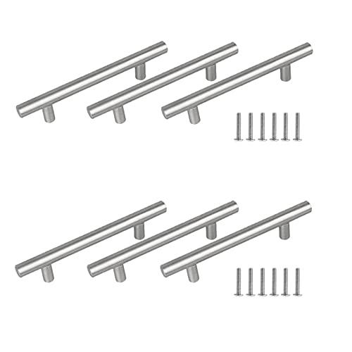 Pladenhblt Tiradores Puertas 6 piezas Tiradores Cocina Tirador para Mueble 128mm Tiradores Armarios Manijas en Forma de T en Acero Inoxidable Tirador de Barra Manija Barral para Armario (200x32x10 mm)