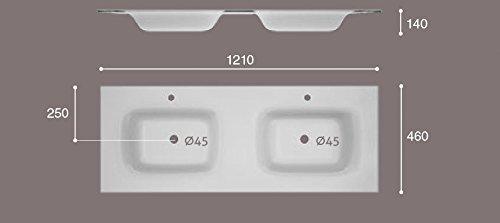 ART&BATH Lavabo sobre Mueble Fenix 2 Senos Todo Masa 1210X460 (NO Incluye Mueble)
