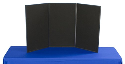 3-Panel Tabletop Display Board, 54 x 30 - Black and Gray Velcro-Receptive Fabric, for Exhibitions and Trade Shows