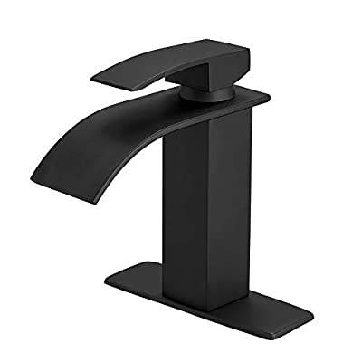 BESy Black Waterfall Spout Bathroom Faucet,Single Handle Bathroom Vanity Sink Faucet, Rv Lavatory Vessel Faucet Basin Mixer Tap with Deck Plate, Lead Free Solid Brass/Matte Black (One or 3 Hole)