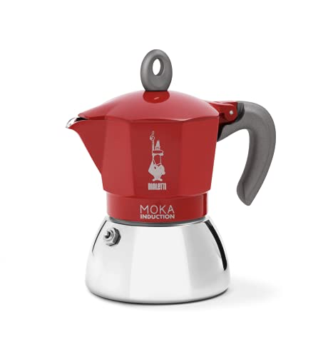 Bialetti New Moka Induction Cafetera Apta para inducción, 6 Tazas, Aluminio, Rojo